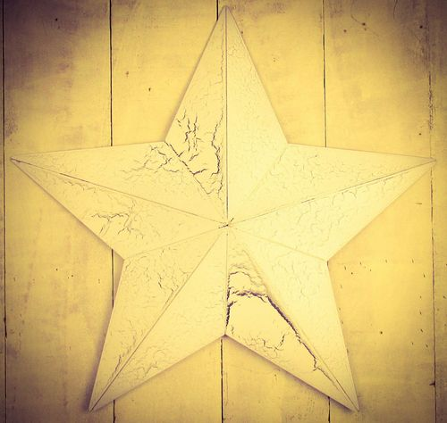 "Huge Metal 33""Crackle white Amish Barn Star"